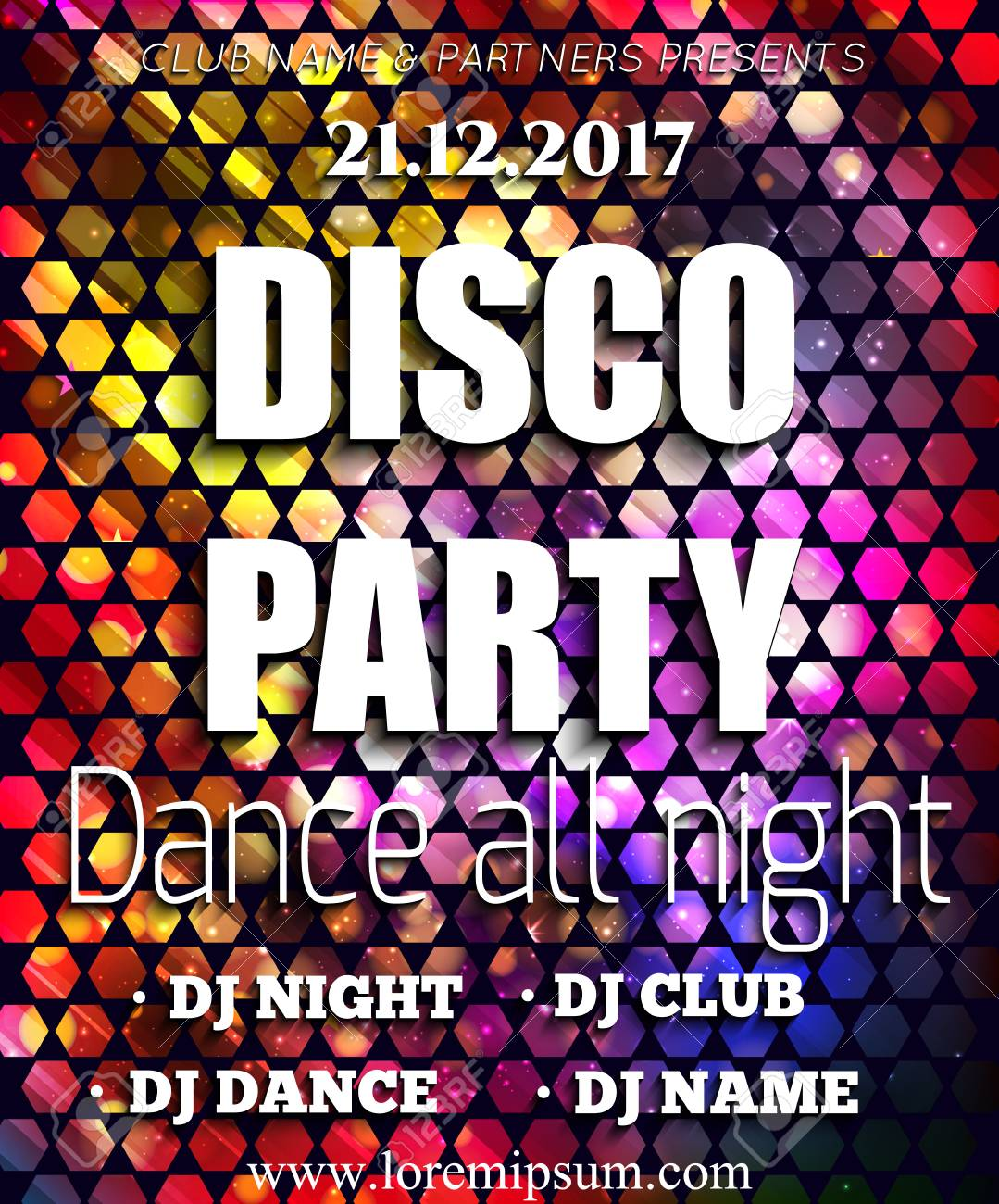 Disco Party Poster Background Template. Festival Vector Mockup ...