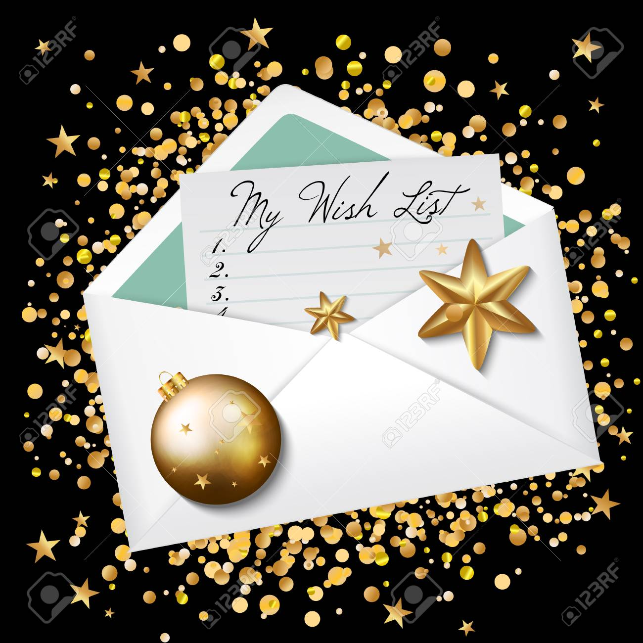 open envelope with my wish list words wishes for new year 2017 christmas background