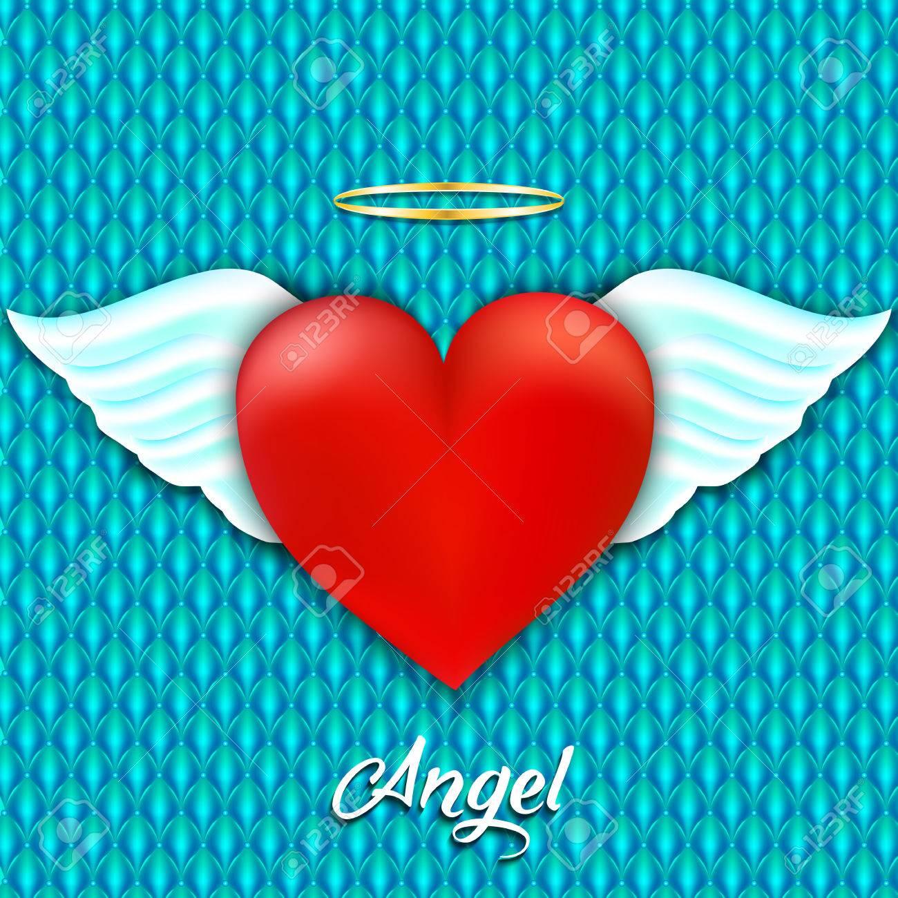Corazón Rojo Con Alas De ángel Y Halo Amor Angelical Ilustración