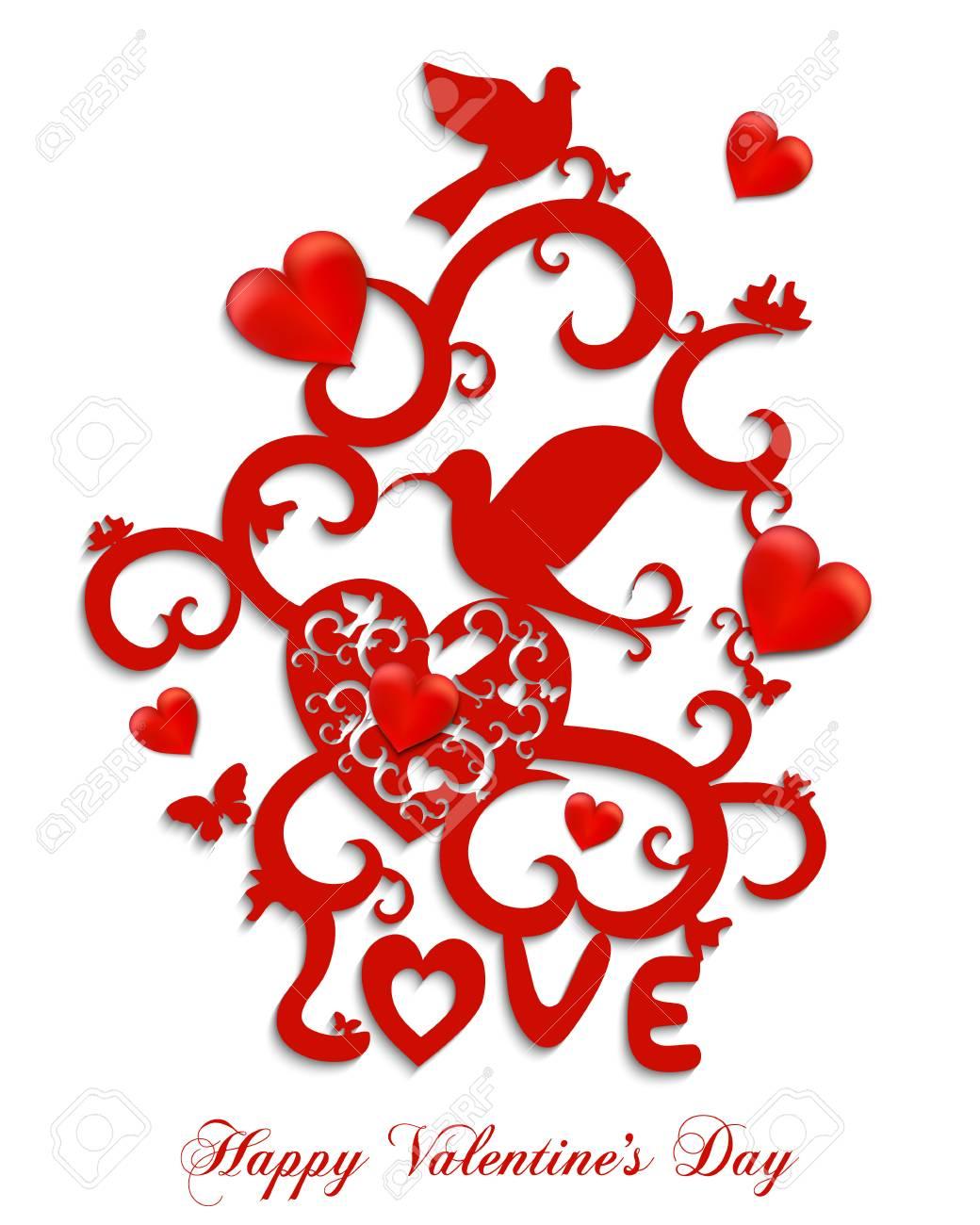 Gluckliche Valentinstag Gruss Karte Abstrakte Vektor Illustration