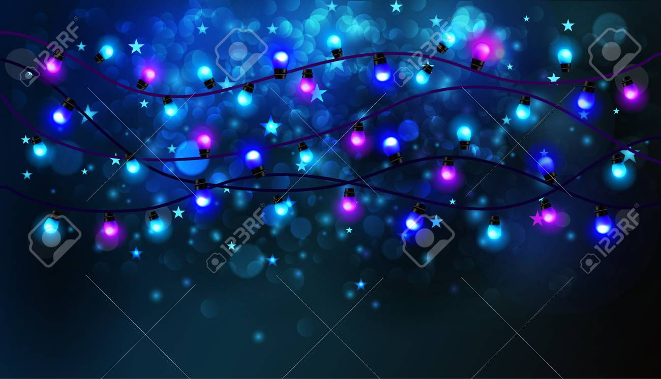 Colourful Glowing Christmas Lights. Dark Blue Background. Vector ...