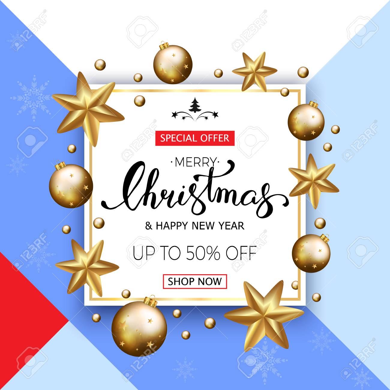 Frohe Weihnachten Verkauf Banner Mit Goldenen Sternen Und Blasen ...