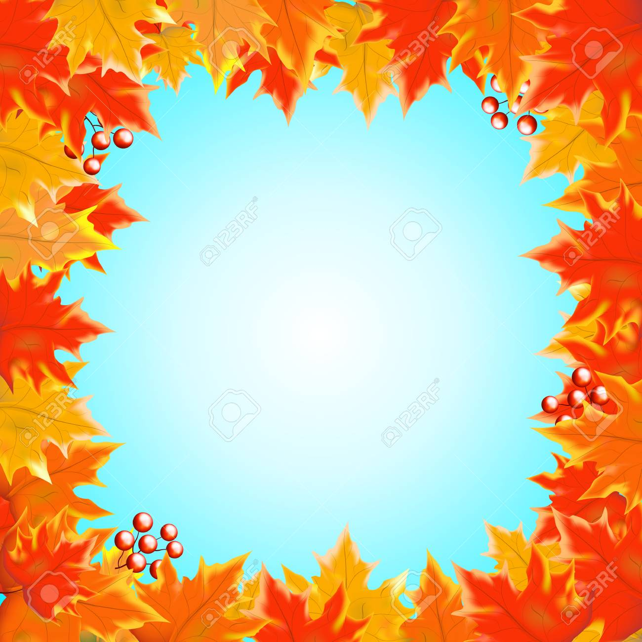autumn background with empty blank space for text and boarder