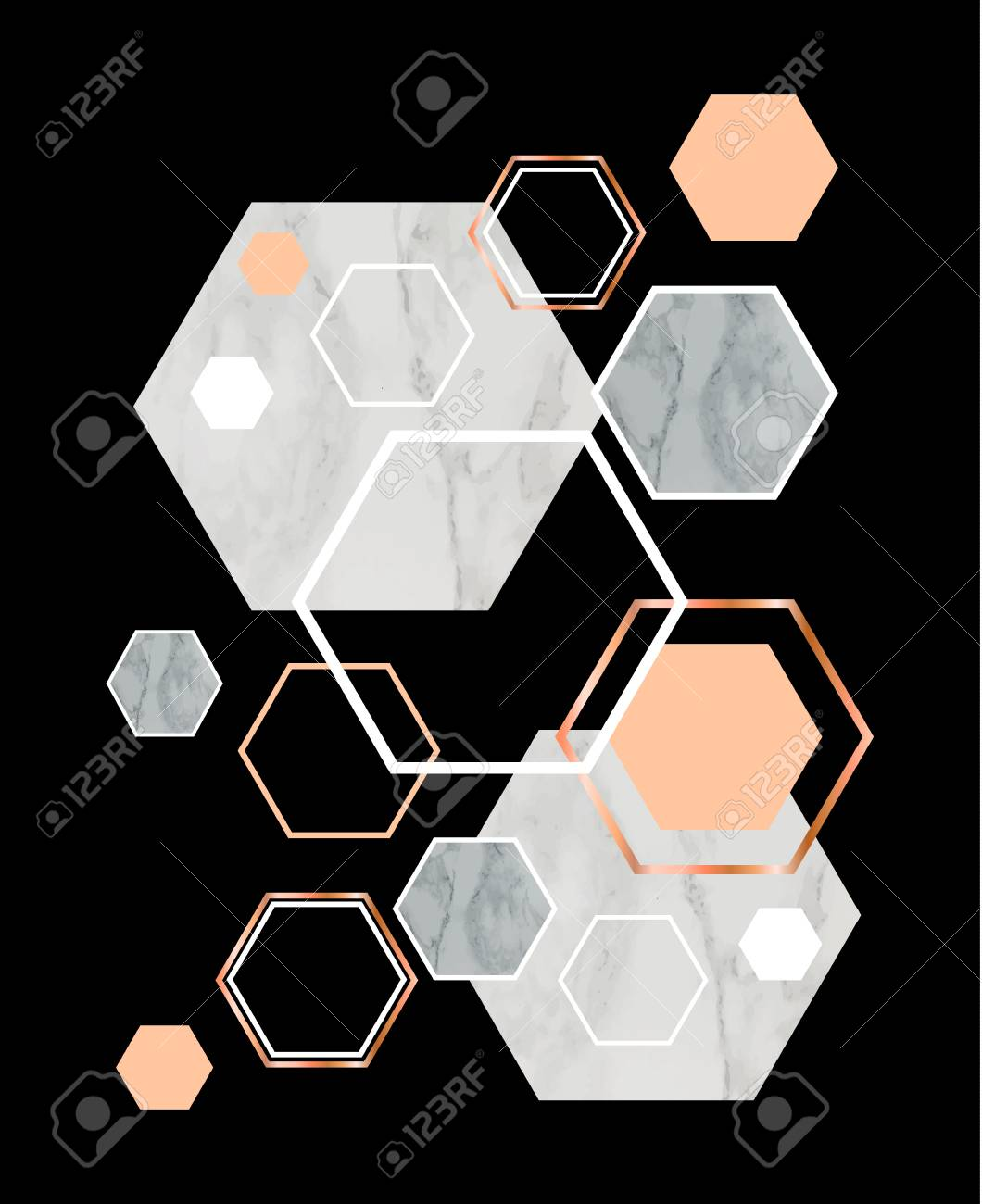 Black Background With Marble Rose Gold Hexagons Geometric Print