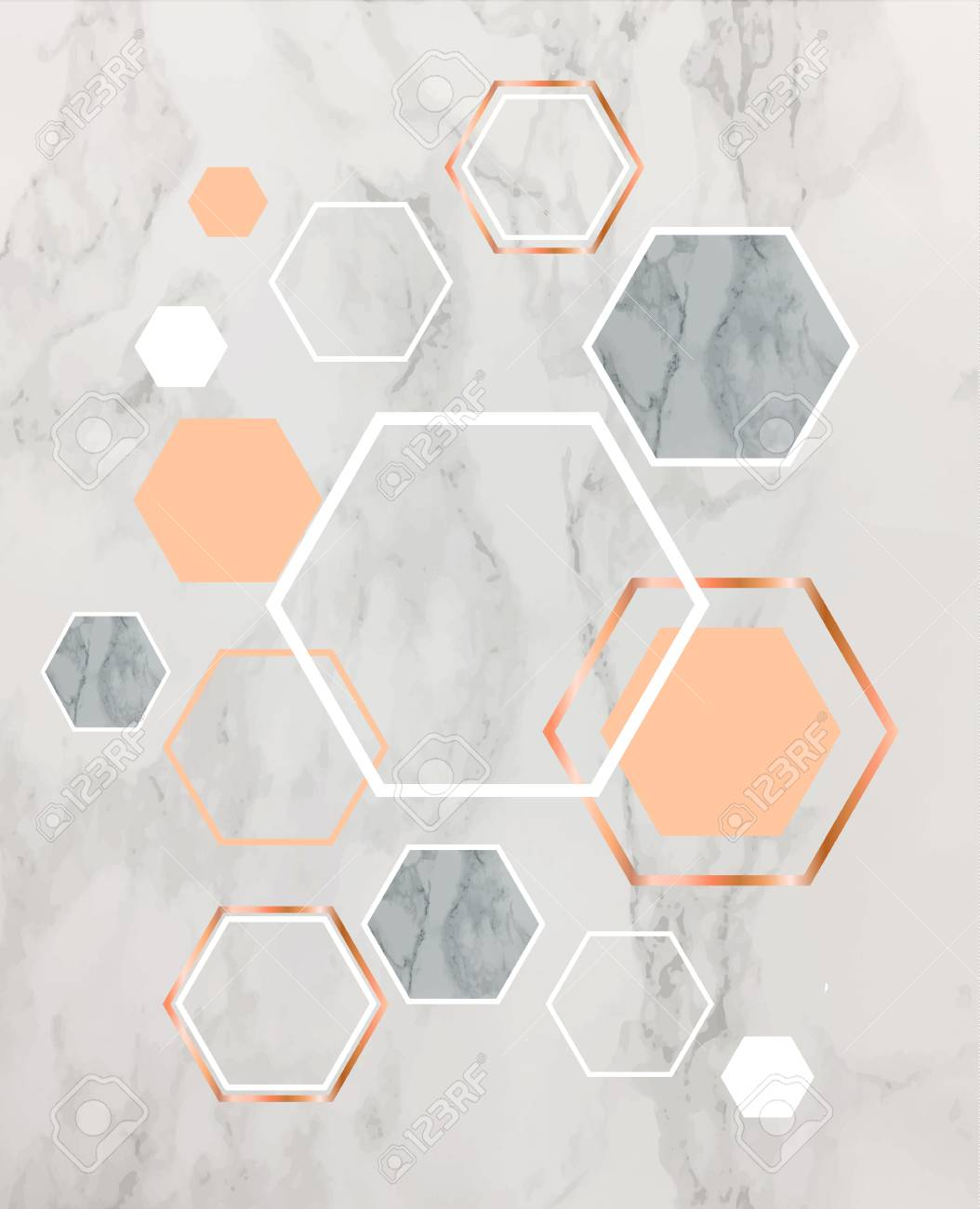 Marble Background With Rose Gold Hexagons Geometric Print For Royalty Free Cliparts Vectors And Stock Illustration Image 95352206