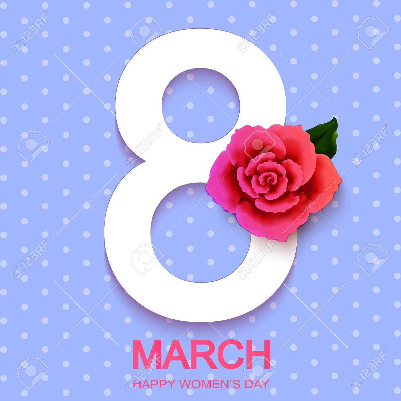 Happy Womans Day 8 March With Roses On Blue Background Wallpaper