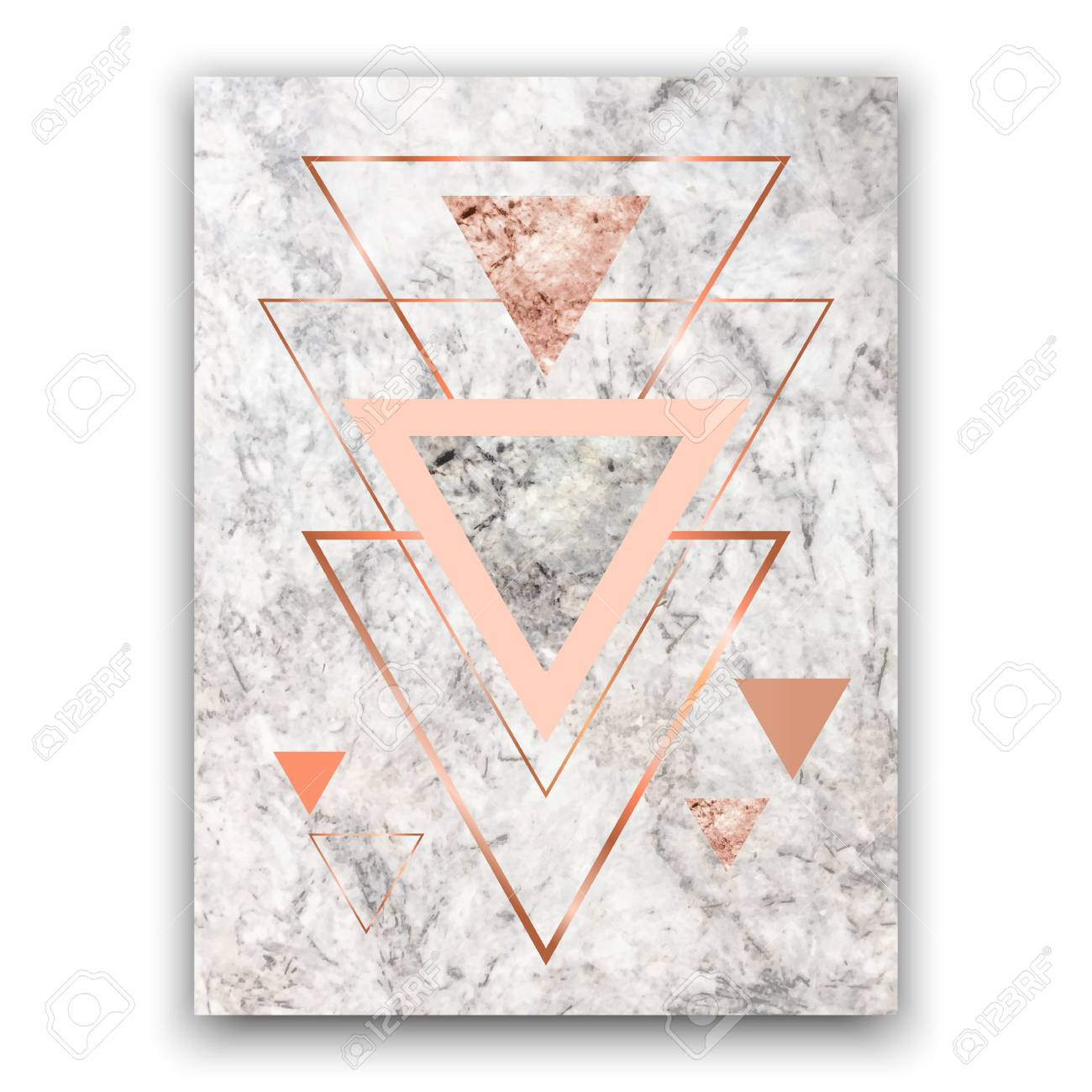 Marble Background With Rose Gold Triangles Geometric Print For Royalty Free Cliparts Vectors And Stock Illustration Image 97215552