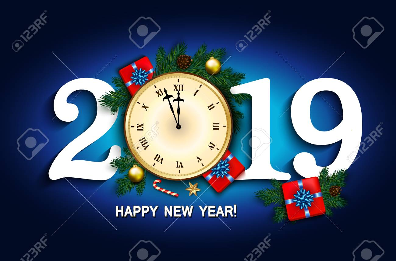 2019 New Year card with clock, gift box, candy cane, pine branches decorated, gold stars and bubbles on blue background. Vector illustration - 110327990