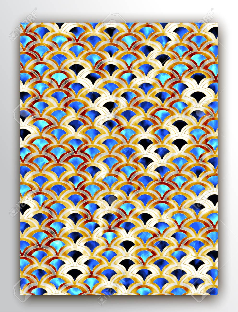 art deco pattern gold mermaid scales glitter geometric texture