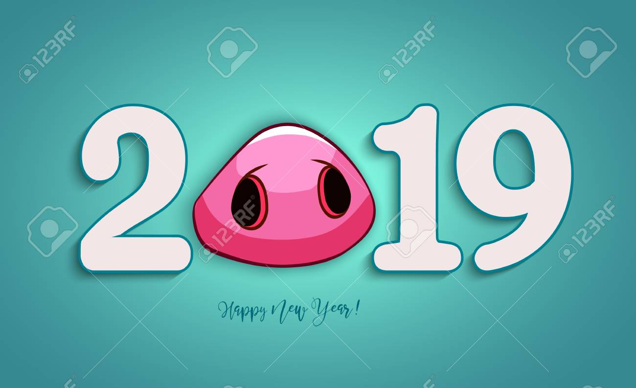 The 2019 Year Happy New Year Greetings Card Or Christmas