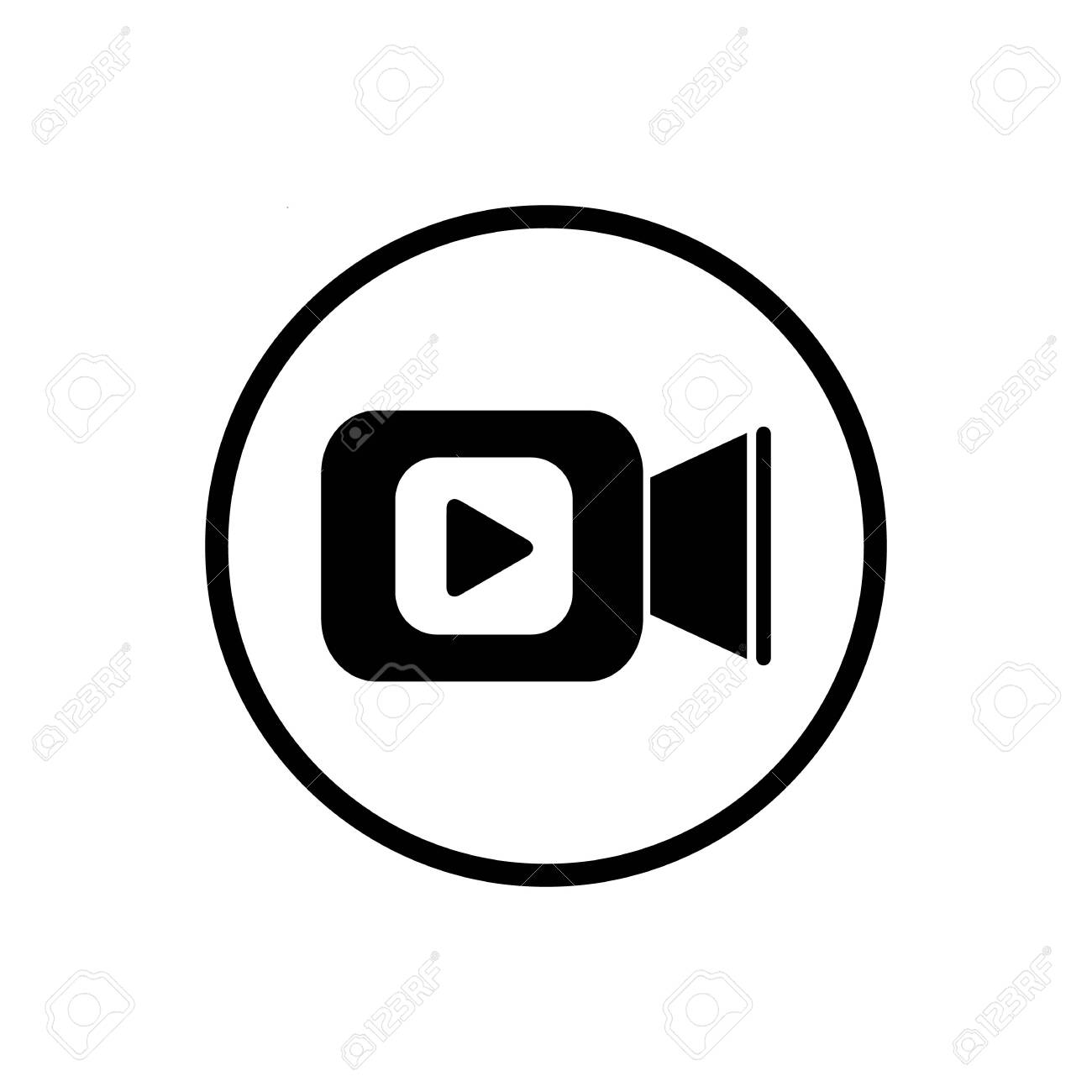 Video camera icon in flat style. Movie play vector illustration on white isolated background. Video streaming business concept - 124063342