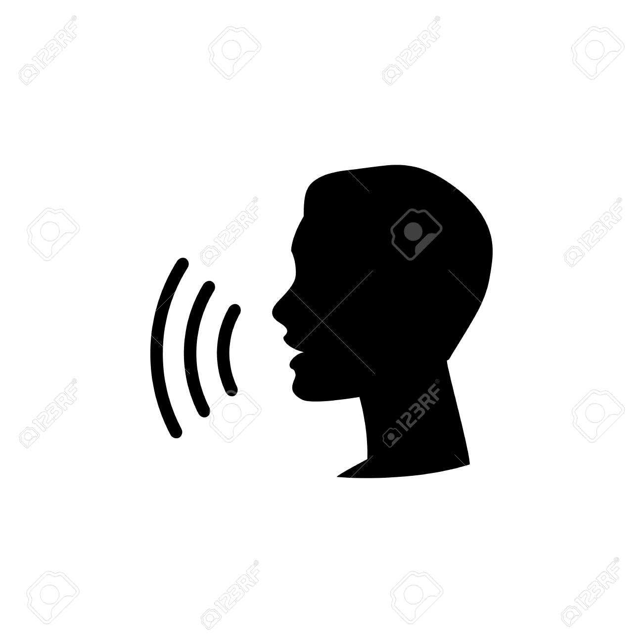 Voice control icon. Speak or talk recognition linear icon, speaking and talking command, sound commander or speech dictator head, vector illustration - 121670468