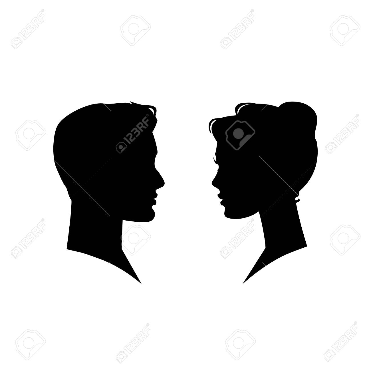 Man And Woman Silhouette Face To Face Vector Illustration Royalty Free Cliparts Vectors And Stock Illustration Image 124063375