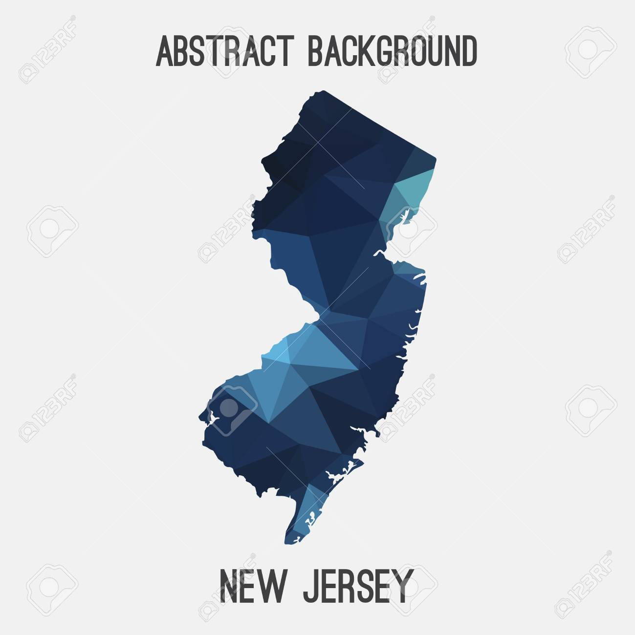 New Jersey State Map In Geometric Polygonal Style Abstract