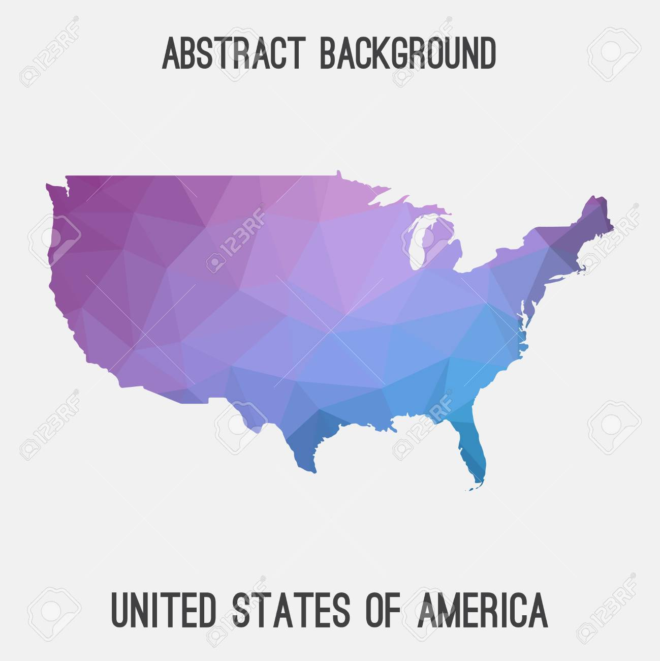 Modern Us Map.United States Of America Usa Map In Geometric Polygonal Mosaic
