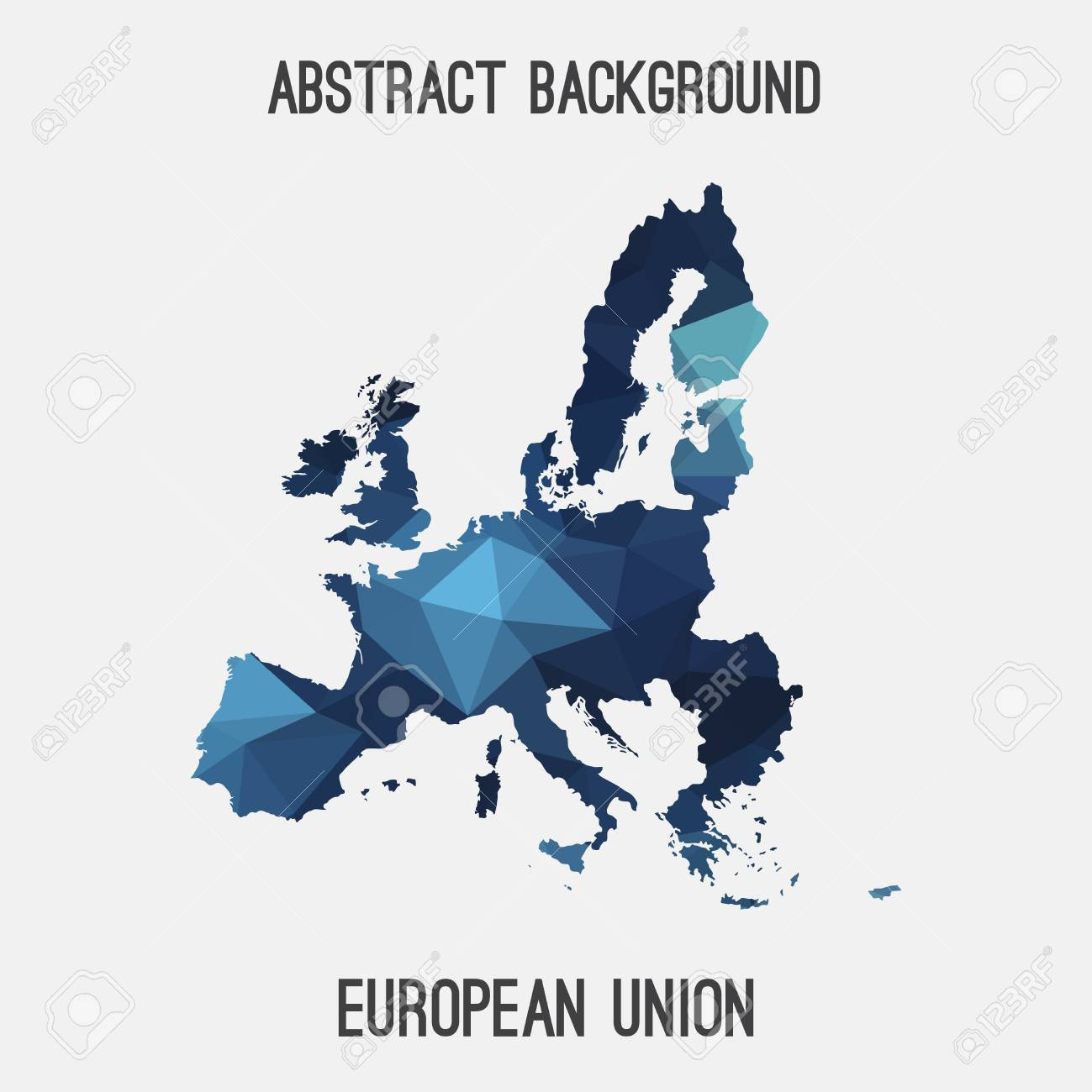 European Union Eu Map In Geometric Polygonal Mosaic Style Abstract
