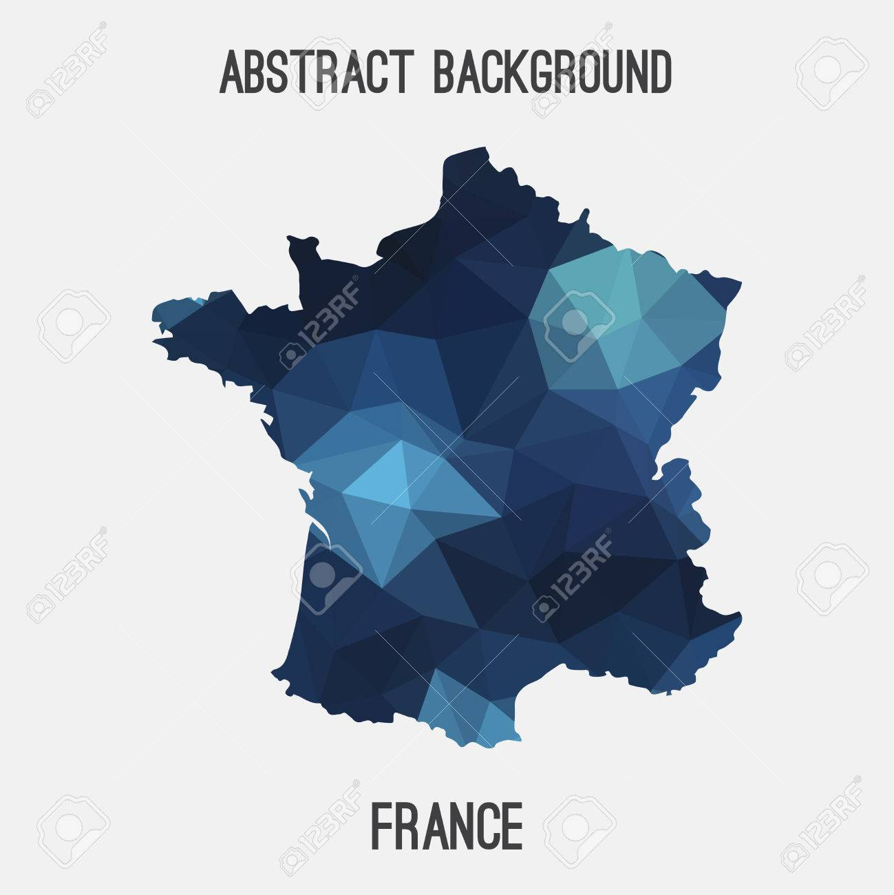 carte de france design France Map In Geometric Polygonal, Mosaic Style.Abstract