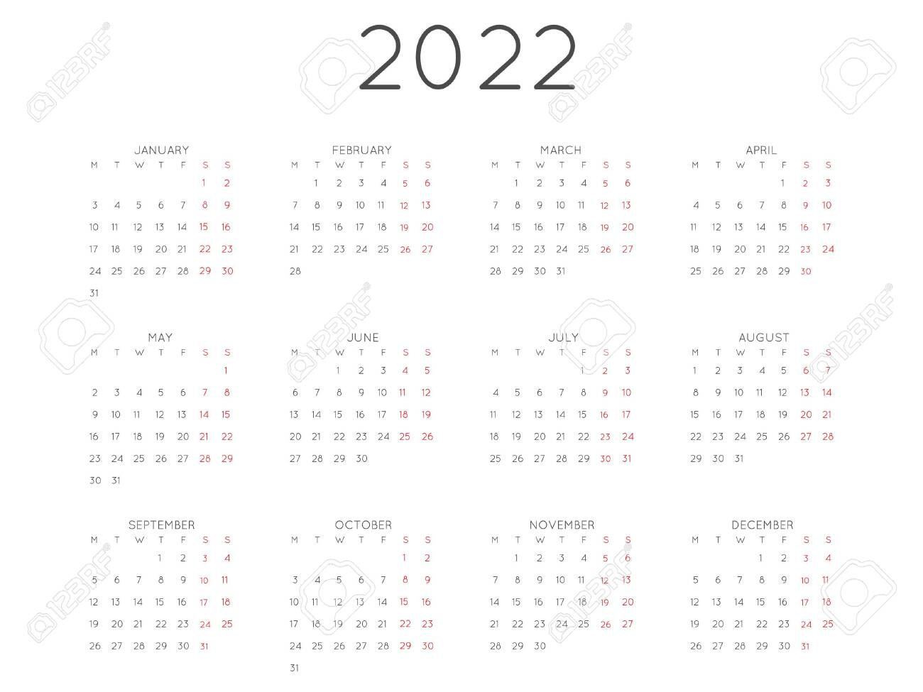 2022 Calendar Monday Start.Calendar 2022 Year Simple Style Week Starts From Monday Royalty Free Cliparts Vectors And Stock Illustration Image 141965847