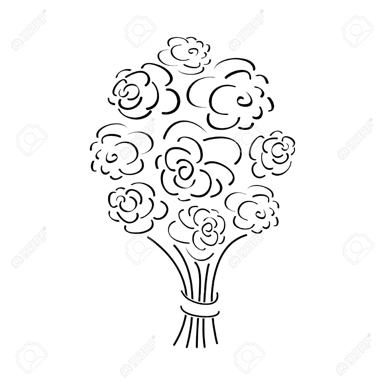 Outline Rose Bouquet Vector Illustration Royalty Free Cliparts