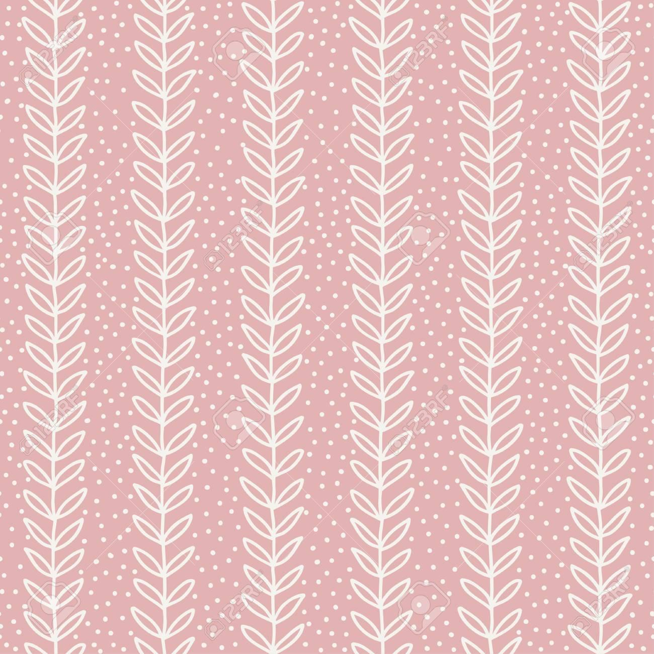 シンプルなリーフのシームレス パターン 手には ピンクの背景が描画されます かわいい壁紙 ベクトルの図 のイラスト素材 ベクタ Image