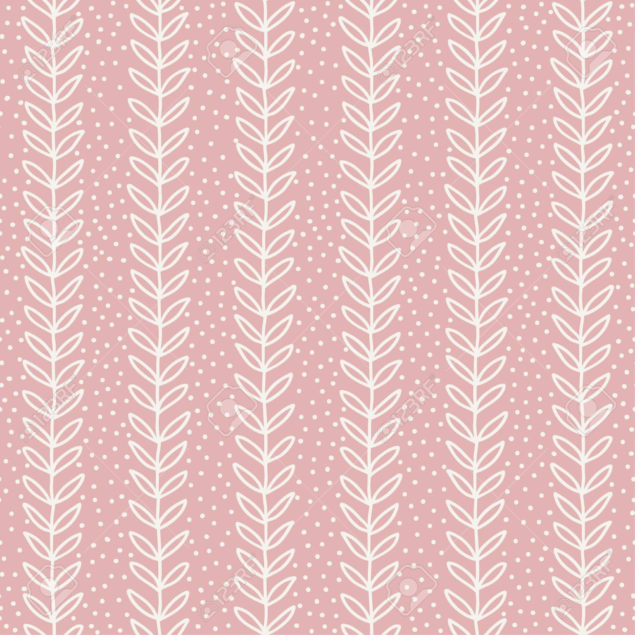 Simple Leaf Seamless Pattern Hand Drawn Pink Background Cute Wallpaper Vector Illustration