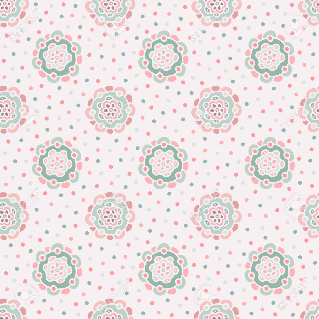 Doodle Floral Pattern Seamless Boho Background Beautiful Pastel Wallpaper Vector Illustration Stock