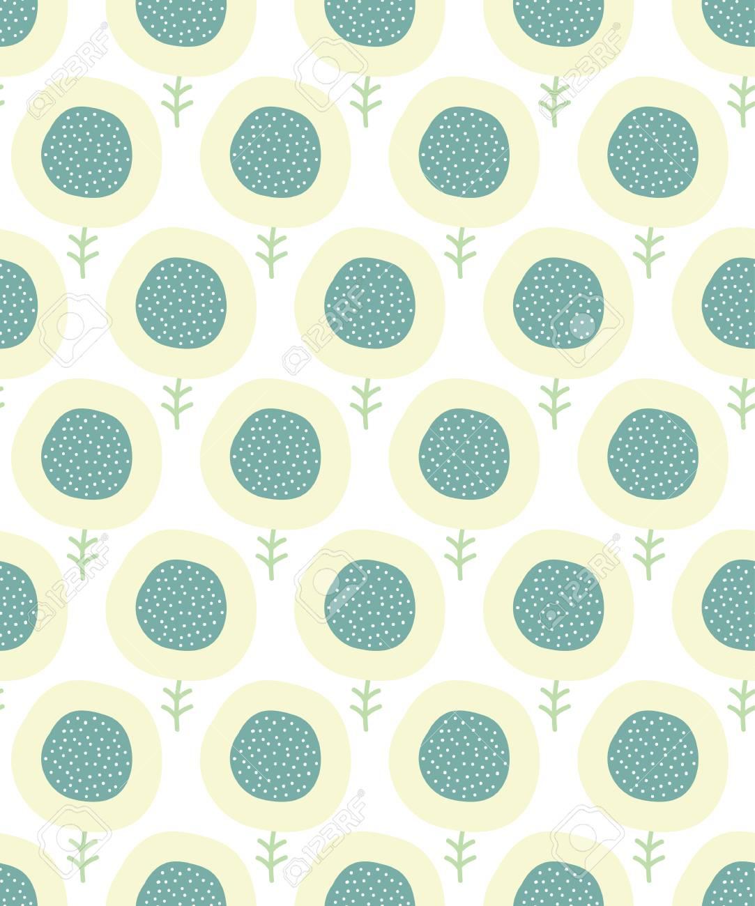 シンプルな花柄 パステルのシームレスな背景を落書き かわいい壁紙 ベクトルの図 のイラスト素材 ベクタ Image