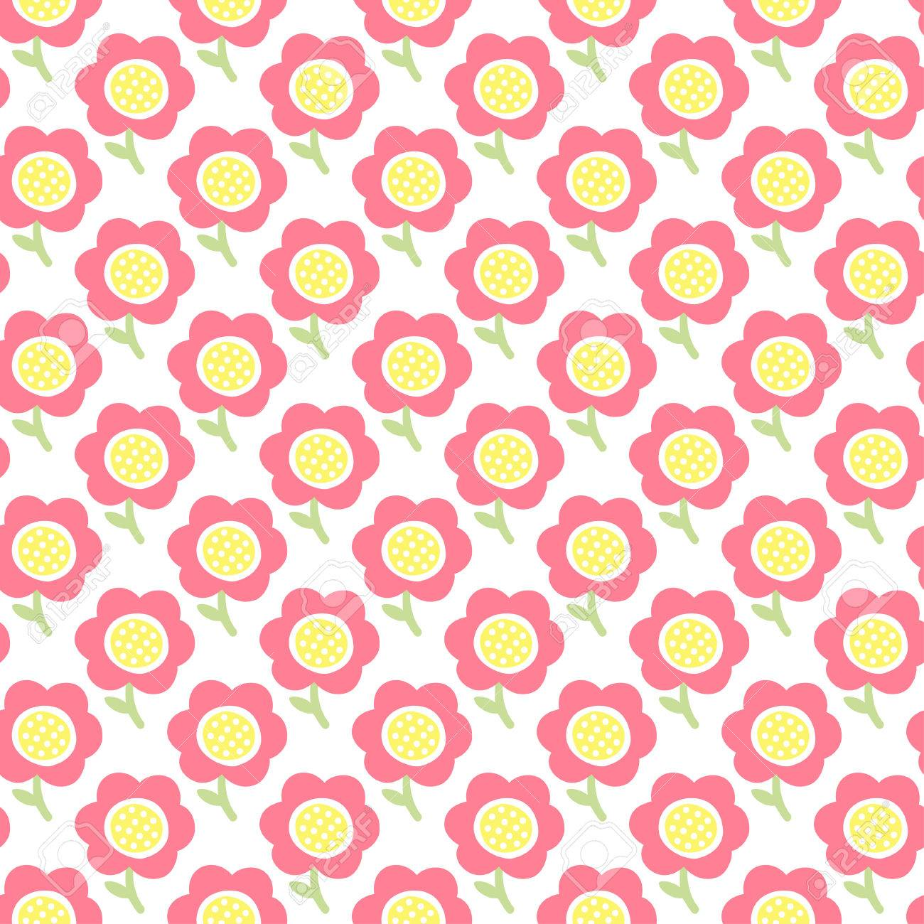 Simple Baby Pattern Cute Seamless Wallpaper Doodle Little Flower Pastel Background Vector Illustration
