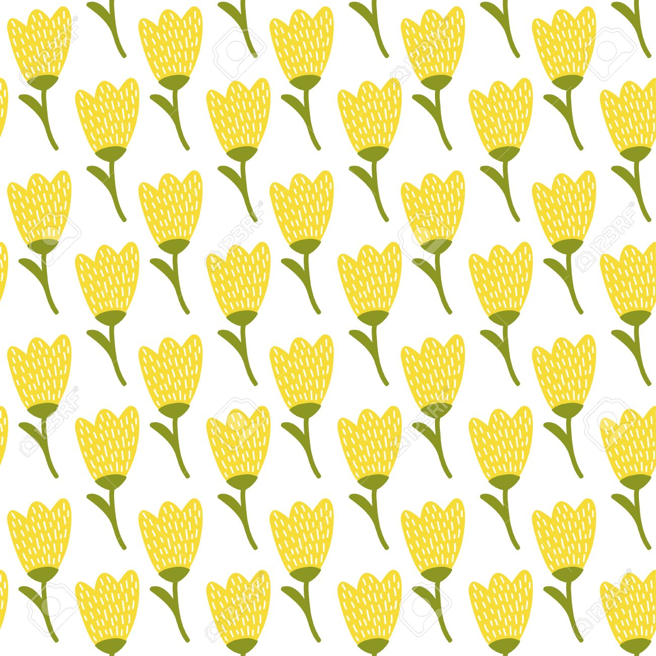 Simple Doodle Yellow Tulip Pattern Cute Flower Seamless