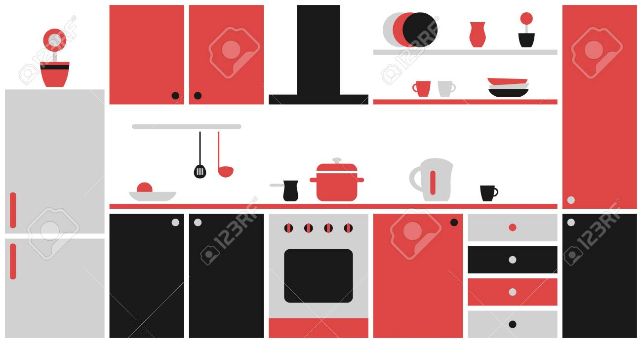 Interior De Cocina En Diseño Plano. Muebles De Cocina Negros Y Rojos ...