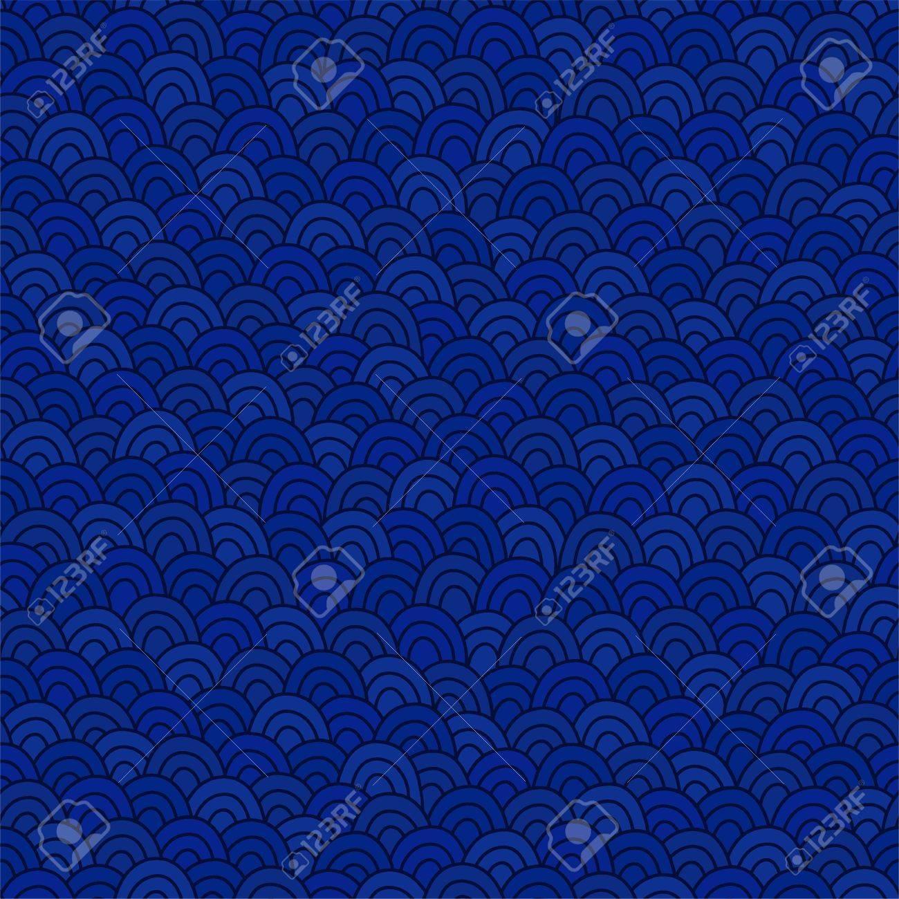 Vettoriale Modello Di Onde Di Mare Blu Profondo Doodle Sfondo