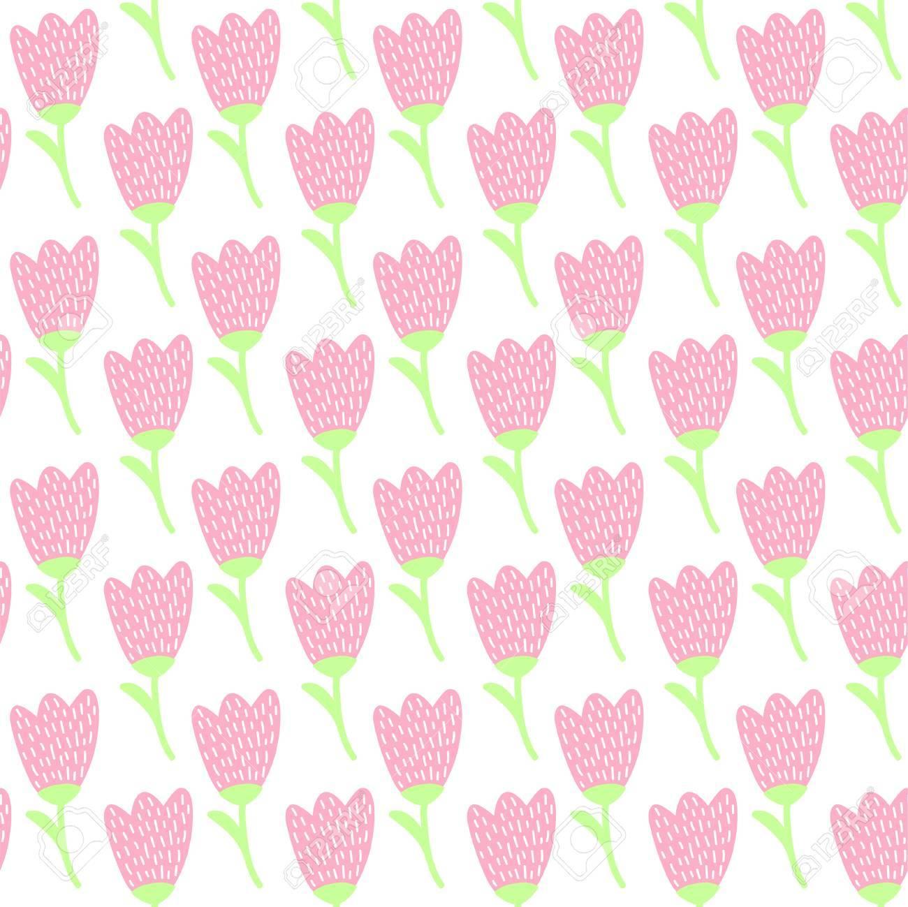 かわいい シンプルなパステル ピンク チューリップ花夏の壁紙の連続パターン のイラスト素材 ベクタ Image