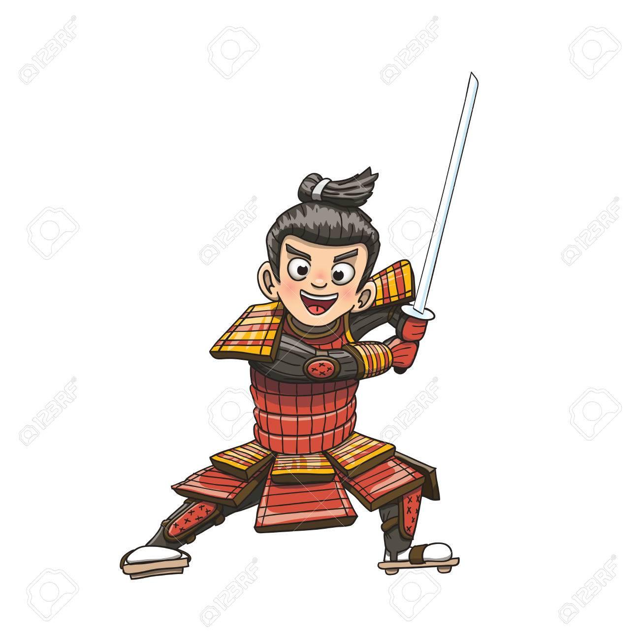 Ilustracion De Dibujos Animados De Guerrero Samurai Japones Ilustraciones Vectoriales Clip Art Vectorizado Libre De Derechos Image 76252630