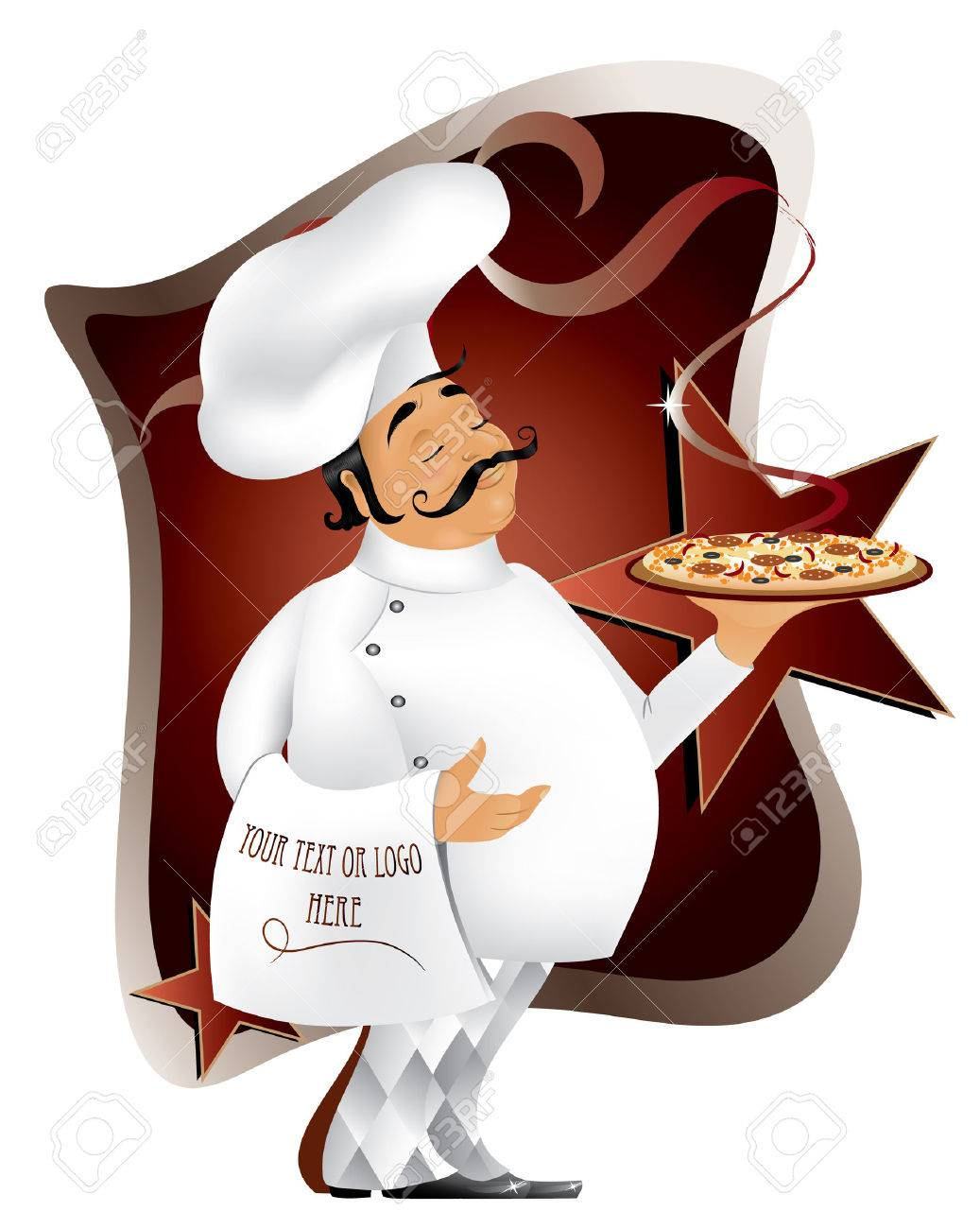 Pizza Chef Logo Chef With Pizza Vector