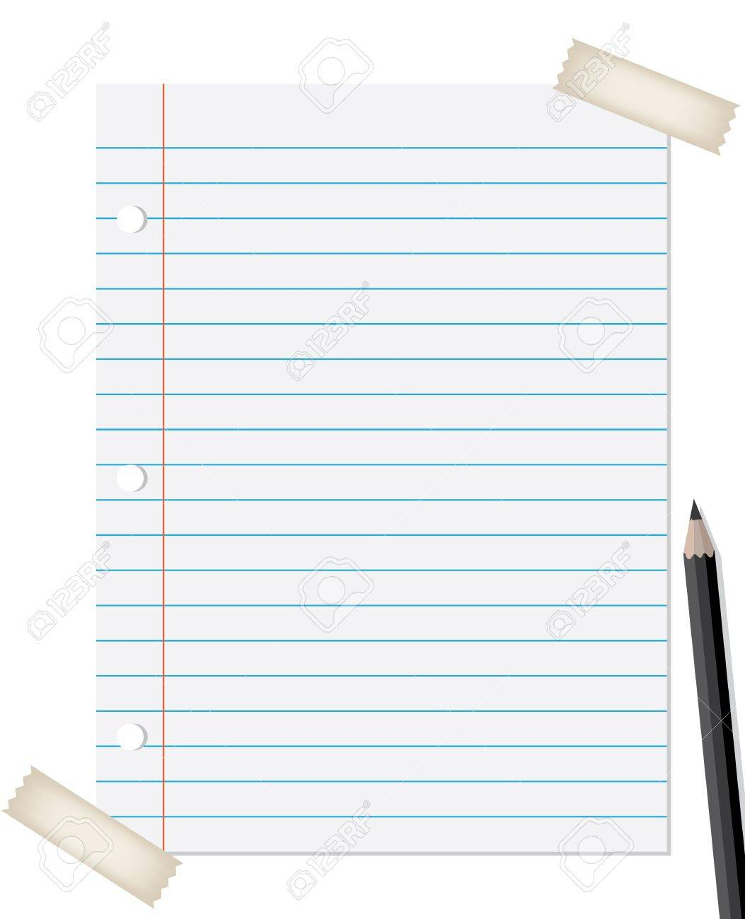 lined paper with pencil and tapes isolated on white background Stock Vector - 9865847
