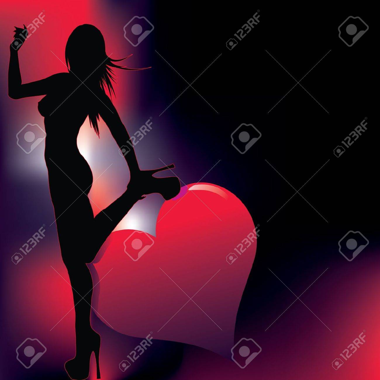 sexy girl silhouette with abstract background Stock Vector - 9865849