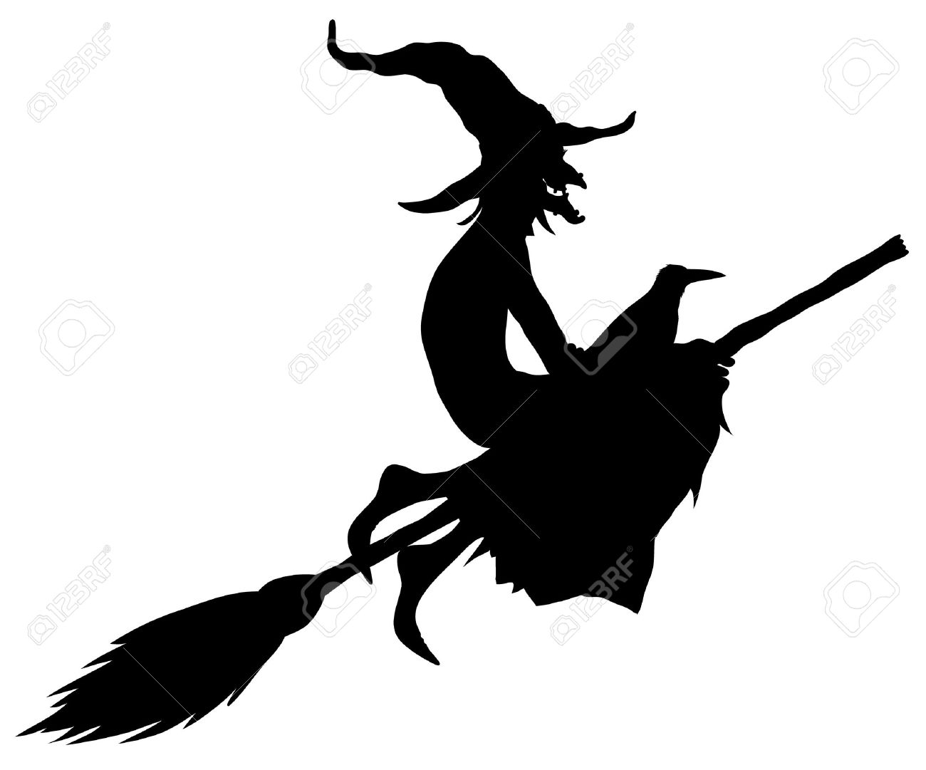 Halloween Witch Silhouette Royalty Free Cliparts, Vectors, And ...