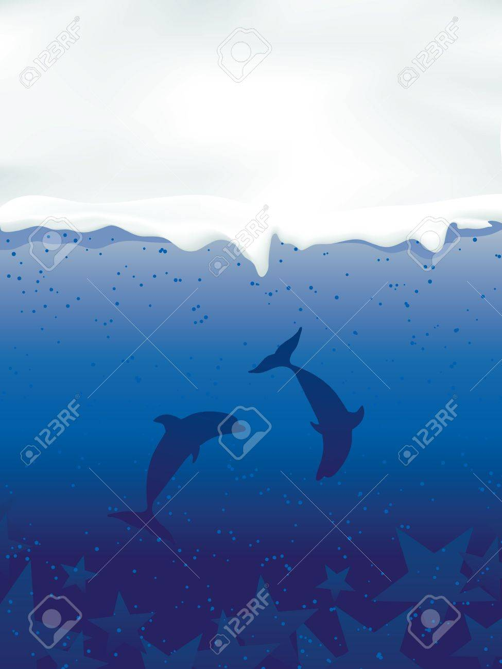 Underwater with dolphins and stars Stock Vector - 11785506