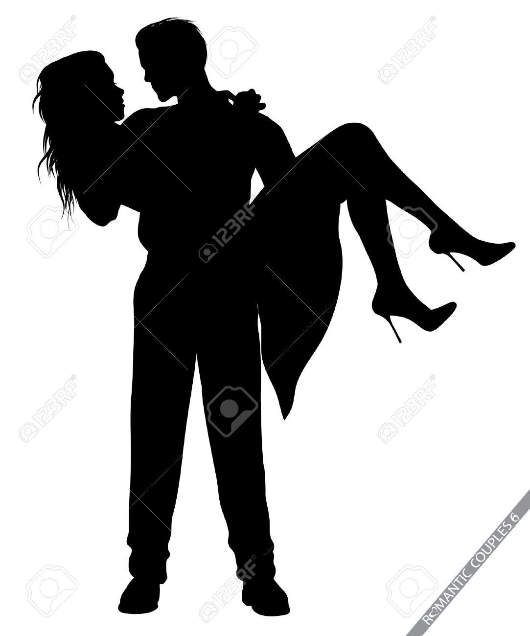 romantic couple silhouettes royalty free cliparts vectors and