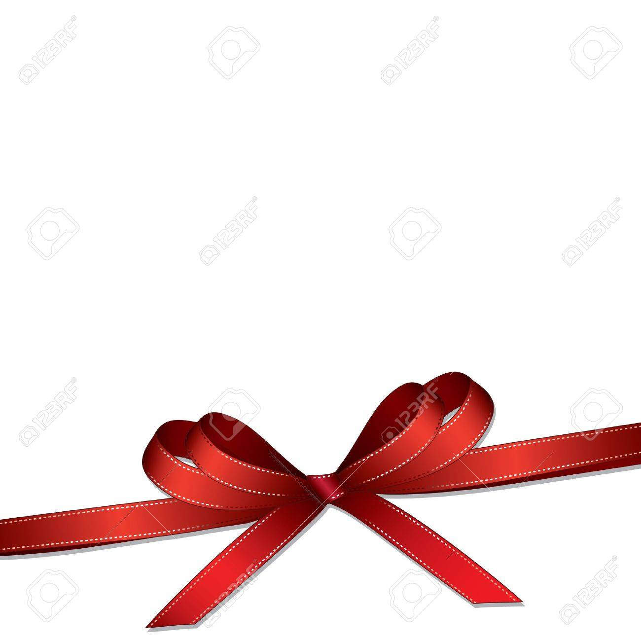 Red gift bows border with clipping path for easy background removing - Ribbon Bow Red Ribbon And Bow Isolated On White Background