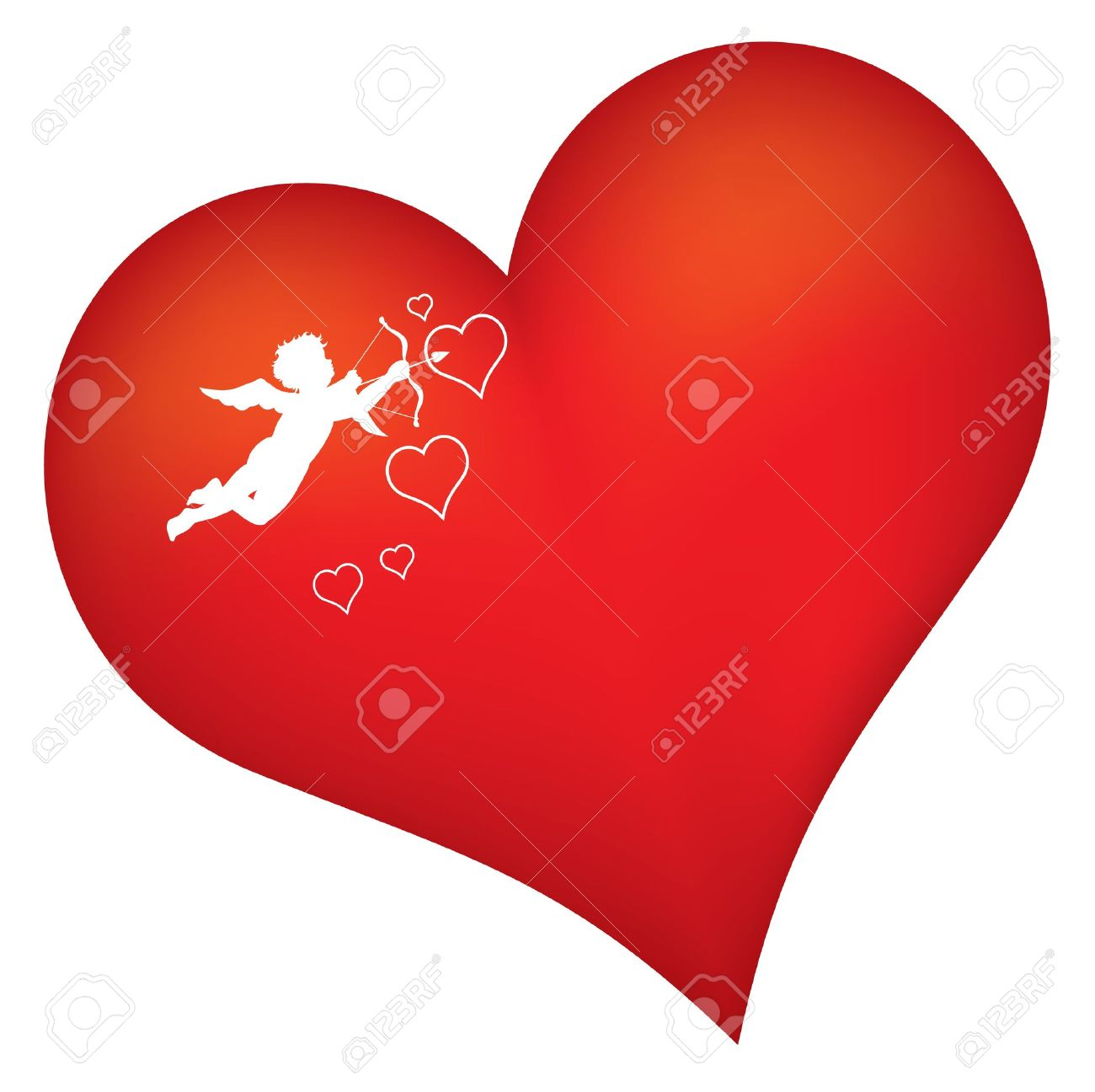 Red Heart With Cupid Silhouette Royalty Free Cliparts Vectors And
