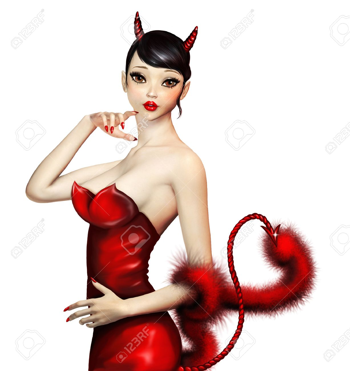 Sexy Devil Girl In Red Costume With Big Eyes Stock Photo, Picture ...