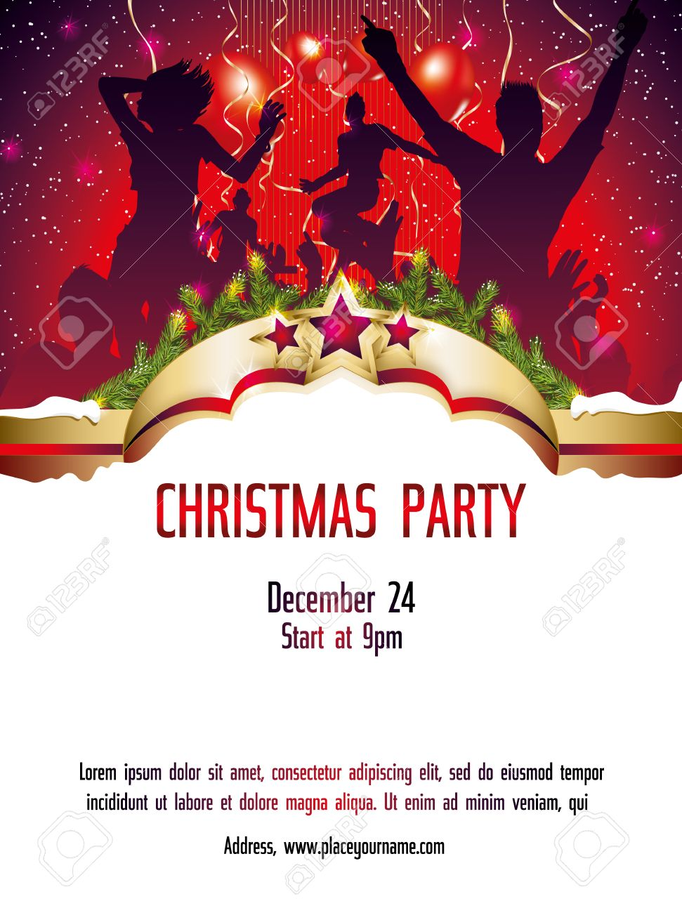 Christmas Party Invitation Template Illustration Royalty Free ...