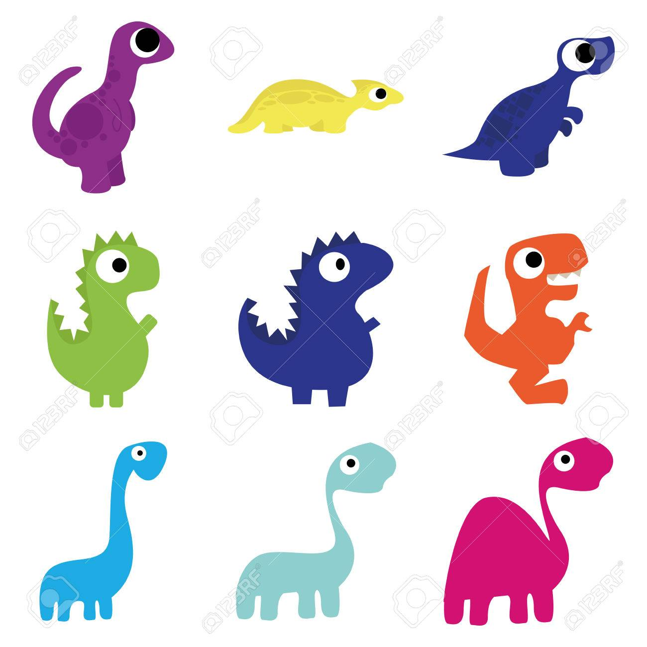 Image of: Little Dino Set Of Different Cute Cartoon Dinosaurs Isolated Stock Vector 27175774 123rfcom Set Of Different Cute Cartoon Dinosaurs Isolated Royalty Free