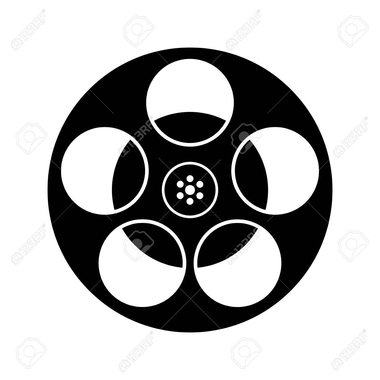 Black And White Film Reel Icon Isolated Royalty Free Cliparts
