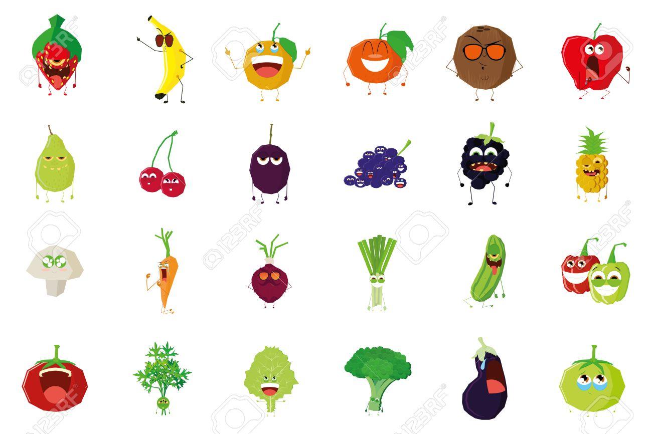 074bcecf5bf Banque d images - Un ensemble de fruits et légumes avec des expressions  faciales sur un fond blanc