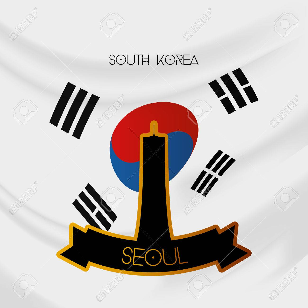Coloring printable south korea flag - A Colored Background With The South Korean Flag And The 63 Building Stock Vector 35745309