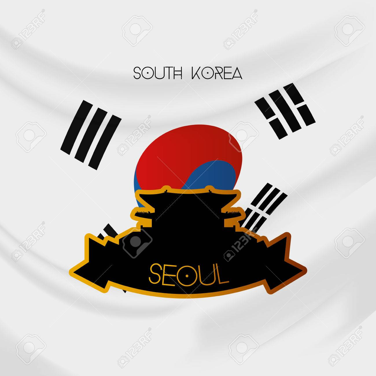 Coloring printable south korea flag - A Colored Background With The South Korean Flag And The Gyeongbokgung Palace Stock Vector 35744792