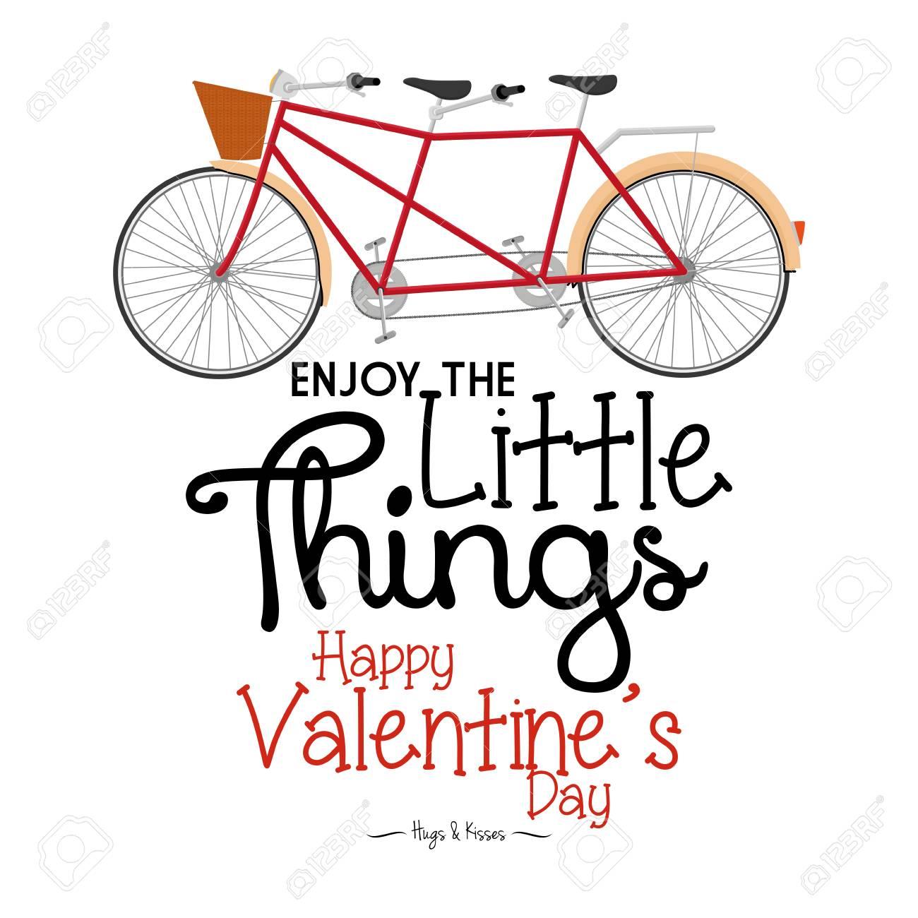c1499424835cf Foto de archivo - Un fondo blanco con el texto y una bicicleta para el día de  San Valentín