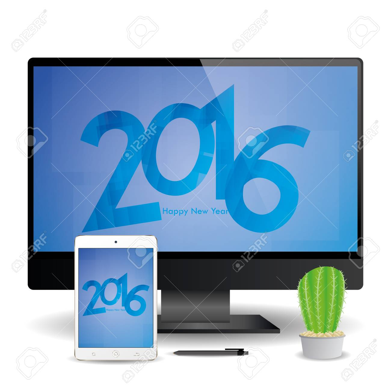 a cellphone and a computer screen with new year screensavers stock vector 51758948